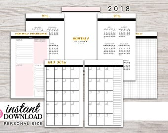 Planner Printable - 2018 Monthly Inserts - Filofax Personal - Kikki K Medium - 3.75 x 6.75 in. - Design: Goldie