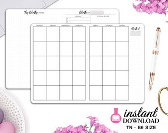 Printable TN Inserts - B6 Size / Foxy Fix #5 - Monthly Planner - Travelers Notebook
