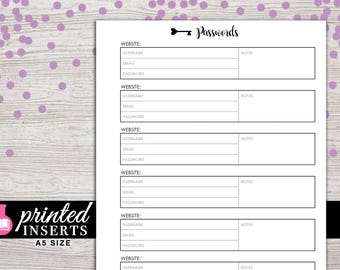A5 Printed Planner Inserts - Password Tracker - Filofax A5 - Kikki K Large - LV GM - Design: Wanderlust