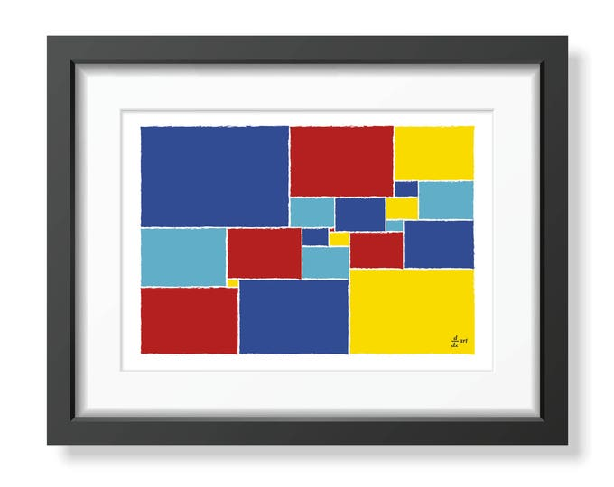 Squared square stretched 08 [mathematical abstract art print, unframed] A4/A3 sizes