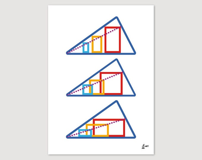 Rectangles in Triangles 11 [mathematical abstract art print, unframed] A4/A3 sizes