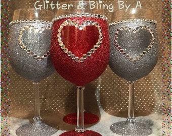 Glittered/blinged Wine Glass
