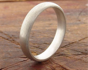 18ct White gold wedding ring, 4mm brushed court handmade band for a woman or a man