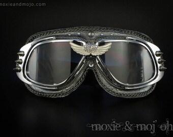 "BurningMan, Steampunk, Aviator, Clear Lens goggles, Anti-Dust Motorcycle Playa Goggles, ""Wings"" by Moxie & Mojo"