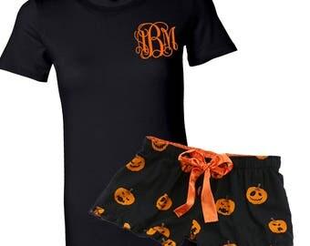 Monogrammed Black & Orange Halloween Pumpkin Sleep Short Set