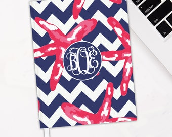 Preppy Starfish Chevron Monogrammed Journal - Hardbound Journal
