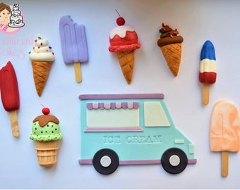 Ice cream themed cake toppers, birthday cake, ice cream, cake toppers,