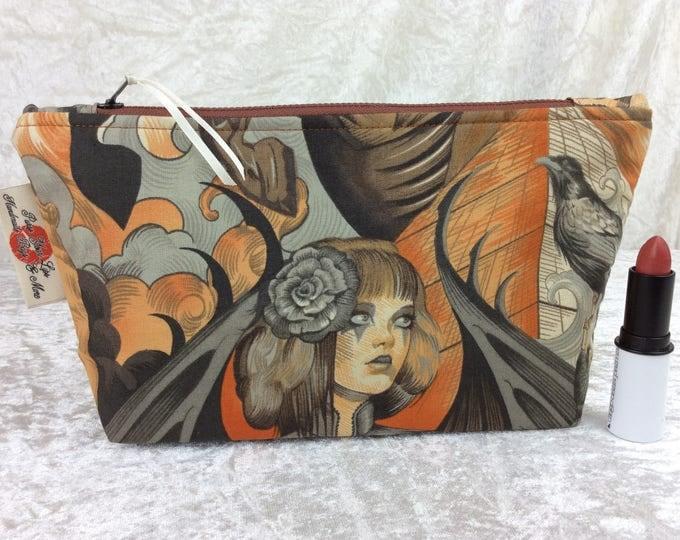 Heart of Darkness Skulls gothic Zip Case Bag Pouch fabric Alexander Henry Handmade in England