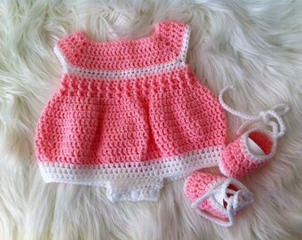Baby Girl Romper, Baby Girl,  Crochet Newborn Romper and Bootee Set, Baby Girl Shower Gift, Pink/White  Romper, Lace up Bootees