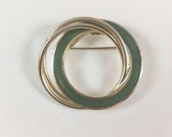 Circle Brooch, Vintage Green and Gold Double Circle Brooch, 1970s Jewelry, Classic Round Pin, Gift for Her, St. Patrick's Day Green