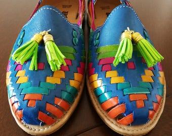 Mexican rainbow Sandals, Mexican Huaraches sandals, Mexican shoes US 7 & US 8, Pompom sandals, mexican leather huarache, mex tassel sandals