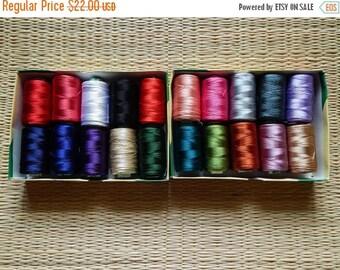 10% OFF Set of 20 Art Silk Thread Spools, Embroidery Thread, Art Silk Thread, Silk Embroidery Thread