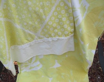 Yellow Floral Twin Flat Sheet, Wamsutta Ultracale Bed Sheet, Vintage Sheets