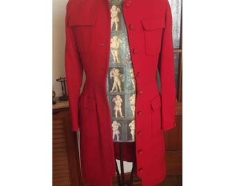 Original chanel vintage red fitted coat