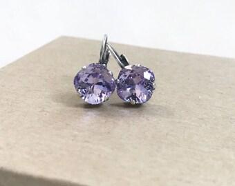 Swarovski Crystal Drop Earrings in Violet