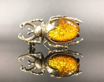Vintage .925 sterling silver and amber beetle bug brooch.  Great gift for entomologist.