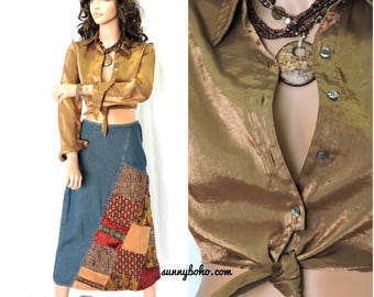 90s Guess gold metallic crop top / shirt size S 1990s shiny bronze  long sleeve cropped tie blouse SunnybohoVintage