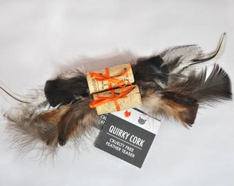 Cat Toy - Cruelty Free Feathers - Quirky Cork Cat Toy