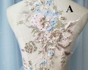 Candy Color 3D Embroidery Beading Patch Flower Applique ,Sequin 3D Lace Patch for Evening Dress ,Children Dress Patch
