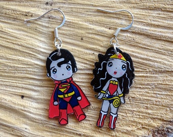 crazy plastic superhero earrings