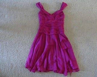 SEAMSTRESS MADE Magenta Chiffon Formal Dress