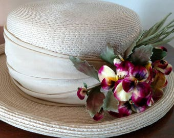 Vintage Frank Olive for Saks Fifth Avenue Straw Boater Embellished with Velvet Millinery pansies/ Derby Party Hat/ Garden Party