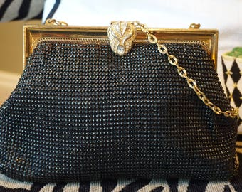 Vintage Black Mesh Whiting and Davis Evening Bag/2983/ Gold Frame purse with chain/ Rhinestone Clasp