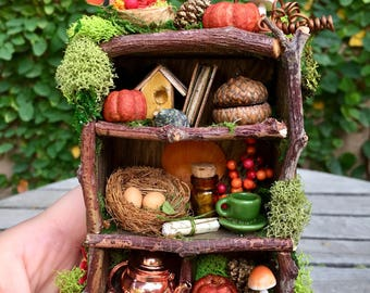 Autumn fairy bookcase, miniature fairy furniture, fairy accessories