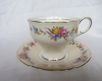 Paragon tea cup and saucer, Double Warrant, English bone china duo,  Special birthday gift. Blue, tooled gold, chintz,floral