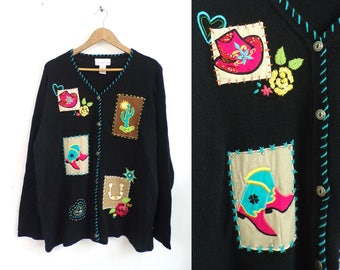 Western Cardigan Sweater 90s Embroidered Beaded Applique Cowgirl Sweater Button Down Embellished Rodeo Womens Jumper XL Extra Large