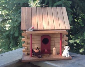 Adirondack Log Cabin Birdhouse/Natural Wood