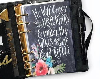 """Planner Dashboard: """"Under His Wings"""", 10 Mil Laminated and Punched"""