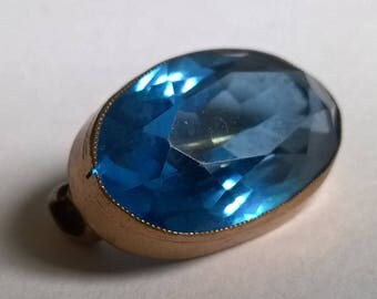 Dazzling Early 20th Centruy Pinchbeck and Blue Stone Brooch, c.1910s