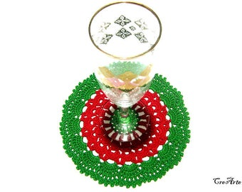 Red and Green Crochet Coasters, Christmas Gift, Table Decorations, Sottobicchieri Natale