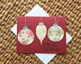 SALE Christmas Ornament Card - Holiday Cards - Merry Christmas - Seasons Greetings - Blank Cards - Set of 5 Christmas Cards