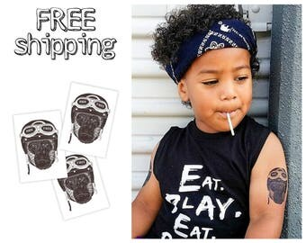Set of 3 tatts «Rider». Kids temporary tattoos with motobike rider Gorilla. Playdate and party bag supply. TT192