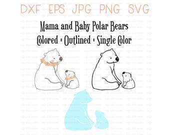 Digital POLAR BEAR, Clip Art, Mama and Baby, Momma Polar Bear, Baby Bear, Gifts for Mom, Instant Download, dxf eps jpg png svg format