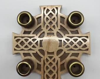 4- Candle Celtic Advent Wreath - Maple & Walnut