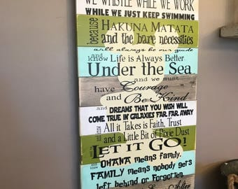 Disney Quotes In This House We Do Disney Planked Grey Blue and Green