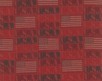 Moda BECAUSE Of The BRAVE Quilt Fabric 1/2 Yard - Rich Red 32953 16
