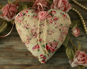 Floral heart, hanging decoration, shabby chic gifts, pink lace heart, vintage home decor, fabric hearts, floral heart decor, plush hearts