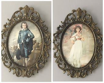 Large Pinkie and Blue Boy Prints in Brass Frames