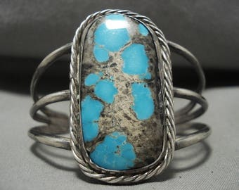 Ultra Vivid Vintage Navajo 'Quality Bisbee Or Persin' Turquoise Silver Bracelet