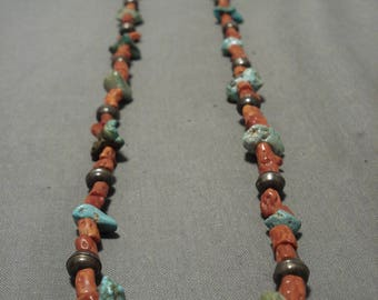 Gorgeous Vintage Navajo/ Santo Domingo Tubed Coral Silver Bead Necklace Old