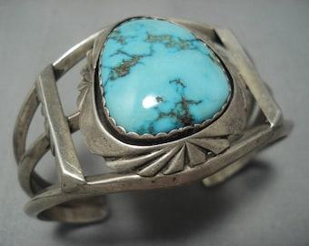 Navajo Bracelet Rare Vintage Navajo Natural Carico Lake Turquoise Sterling Silver Bracelet