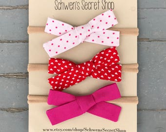 Valentine baby bow, hand tied bow, baby girl headband, baby hair bows, nylon headband, school girl bow, baby headband, baby girl bows