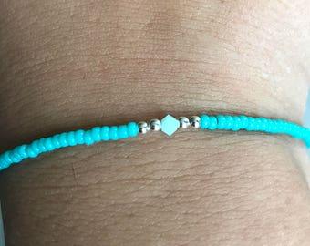 Turquoise Swarovski/miyuki bracelet, Swarovski bracelet, turquoise bracelet, miyuki bracelet, boho bracelet, Ibiza bracelet, stack bracelet