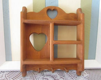 wood wall shelf with 3 hooks vintage heart cut shelves vtg shelf with peg