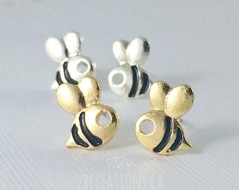 Bee Earrings - Bees Earrings - Studs Earrings - Bee Jewelry - Summer Earrings - Minimalist Jewelry - Small Earrings - Dainty - Gift for her
