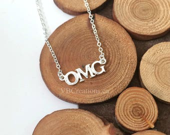 OMG Necklace - Oh My God - Oh My Gosh - Expression - Word Necklace - Word Jewelry - Silver Chain - Gift Ideas - Christmas Gift - Sister Gift